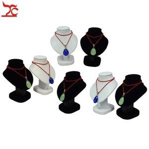 7шт мини ювелирные изделия Дисплей Бюст белый PU подвесной держатель черный бархатный манекен ожерелье стойки стенд деревянный кулон модель 11см