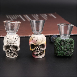 Cross-border hot selling resin creative skull glass pipe pattern glass pipe detachable small pipe smoking sets wholesale