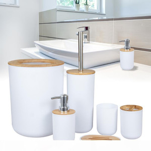 Bathroom Accessories Set Living Room Dish Cup Shower Space Saving Toilet Brush Soap Dispenser Bamboo Wooden Waste Bin Kitchen