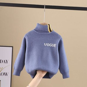 clothing 2020 winter new children's Korean sweater boy's all in one cashmere letter high collar versatile knitting bottom coat HK3YE81C