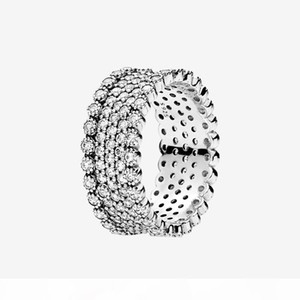 Womens Full CZ diamond Wedding RING Sparkling Summer Jewelry for Pandora Real 925 Sterling Silver Rings set with Original box High quality
