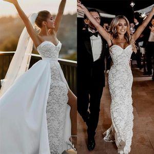 2021 Mermaid Wedding Dresses with Detachable Train Side Slits Sweetheart Lace Bridal Gowns Elegant Boho Wedding Dress