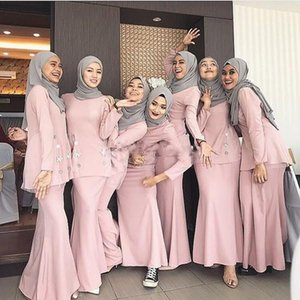 Pink Muslim Mermaid Bridesmaid Dresses 2021 O Neck Long Sleeve Floor Length Garden Wedding Guest Party Gowns Maid of Honor Dress