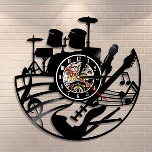 Guitar and Drum Kits Wall Clock Guitar Player Music Vinyl Record Clock Rock Music Instrument Guitar Wall Art Rock n Rock Gift 201203