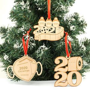 2020 Christmas Pendant Wooden Customized Mask Snowman Christmas Survivor Family Xmas Decorating Creative Ornaments