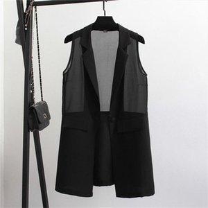 2019 Summer Women Long Chiffon Blazer Vest Coat Thin Elegant Office Lady Sleeveless Vests Jacket Outwear Casual WaistCoat M31