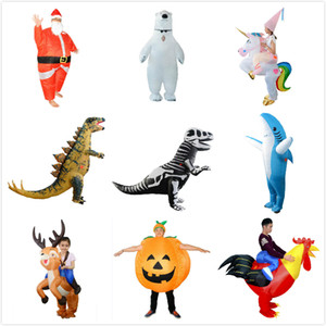 نفخ هالوين عيد الميلاد ملابس الكبار كيد الحياة البرية الديناصور فيلوسيرابتور زي نفخ مجموعة حزب تأثيري الملابس GGE2132