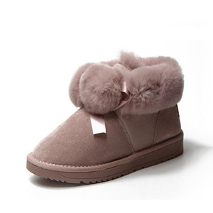 Pink Flock Thick Bottom Velvet Butterfly-Knot Warm Cotton Boots Winter Work Snow Boots Round Head Outdoor Non-Slip Ankle