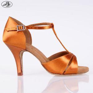 Venta mujeres América BD danza de zapatos de baile zapatos de satén 2358 de la sandalia de tacón alto Latin Ladies T suavemente único bar interior 201017