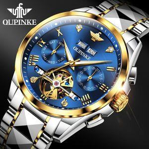 Наручные часы Oupinke Мужчины Автоматические часы Сапфировый кристалл роскошный механический наручные часы водонепроницаемый вольфрамовый сталь Relogio Masculino