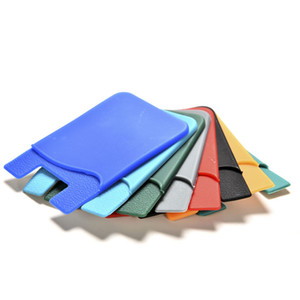 """Multicolor 3.34"""" x 2.2"""" Portable Adhesive Case Silicone Mobile Phone The ID  Card Holder"""