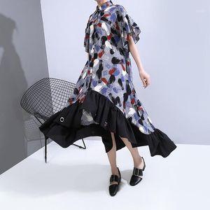 Womengaga 2020 летнее новое платье нерегулярное одиночное грубое печать.