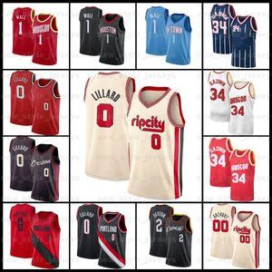 2 Collin 0 Damian Sexton 34 Hakeem 1 John Olajuwon Lillard Wall Z6 ClevelandCaballerosHoustonRocket PortlandBlazer jersey