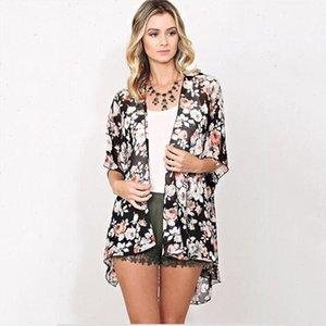 Arrival New Summer Sunproof Cardigan Fashion Women Chiffon Bikini Shirts Kimono Cardigan Coat Printing Half Sleeve Camisa