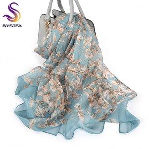 Shawls [BYSIFA] 100% Silk Chiffon Scarf Female Brand Leaves Design Grey Khaki Long Scarves Beach Fall Winter Women Neck Scarves1