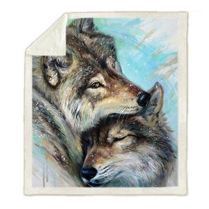 Galaxy Wolf Fleece Couverture 3D Couverture portable imprimée Plein adulte / Enfants Drop Shippng Style-31