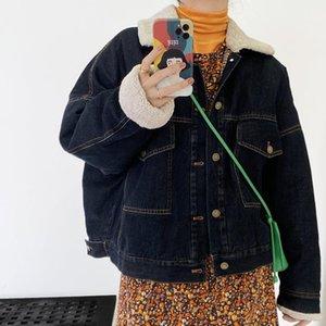 Kovboy ceket kadın bf gevşek yaka kalınlaşmış kuzu kazak kısa 8161