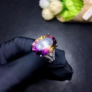 Weainy Natürliche Amethyst Dame Ring S925 Sterling Silber Mode Ring, 12 * 16mm Millenniumsschnitt Hochwertige Amethyst Ring J0112
