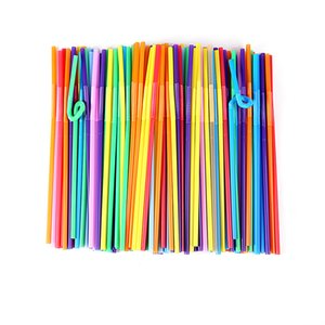 200pcs lot Disposable Plastic Straws Flat Mouth Mixed Colors Drinking Straws Smoothie Drink for Birthday Wedding Party