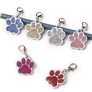 Schöne Personalisierte Dog Tags Gravierte Hunde Pet ID Name Kragen-Umbau-Anhänger Tierzubehör Paw Glitter Personalisierte Hundehalsband Tag OWD2541