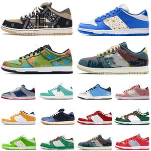 أحذية Nike SB Dunk Low White off الاحذية Ben & Jerry's Chunky Dunky Travis Scott رجل إمرأة مصمم أحذية رياضية Dunks Safari Muslin Stussy Cherry Trainers Diamond Brand Sneakers