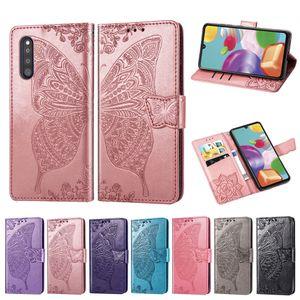 Porte-monnaie Téléphone pour Samsung Galaxy A41 antipoussière en cuir PU fleur papillon avec boucle magnétique Machines à sous main Carte Bracelet (Modèle: A41)