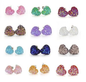 12mm Fashion Handmade Resin Mermaid Heart Druzy Earrings Trendy Simple Stainless Steel Tone Wholesaling Resin Stone Earring For Lady Gift