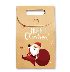 Christmas Gift Bags Xmas Vintage Kraft Paper Apple Candy Case Party Gift Bag Hand Wrapped Package Decoration Party Favor Supplies NWA1142