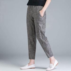 F&je New Arrival Summer Women Pants Plus Size Korea Fashion High Waist Thin Casual Harem Pants Striped Cotton Linen Trousers D45 201022