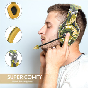 K1 Pro camo gaming headphone with noise cancellation Mic LED Light for PC Gamer headphone for PS4 Xbox Switch one