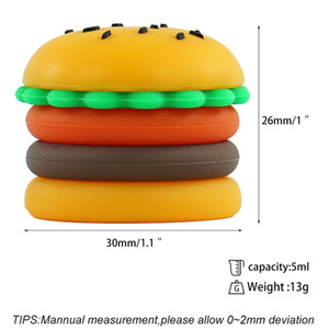25X hambeurger jar 5ML Non-stick Silicone Container dry Box Vaporizer for concentrate oil Containers 2019 hot selling style
