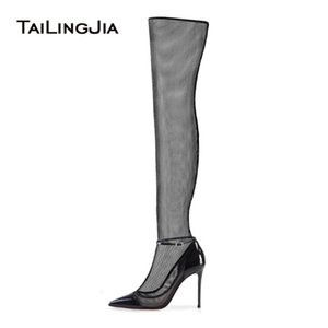 Sexy High Heel Black Stretch Mesh Sock Boots Pointed Toe Over The Knee High Boots Stiletto Heel Sandals Summer Shoes 2020