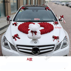 PE rose bear master wedding car decoration set knot wedding car team decoration bear marriage room layout CD50 Q031