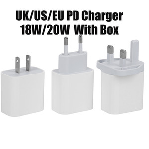 Top Quality USB Wall Charger 20W 18W Power Delivery PD Quick Charger Adapter TYPE-C US UK EU Plug Fast Charging Cable for Samsung Smatphone