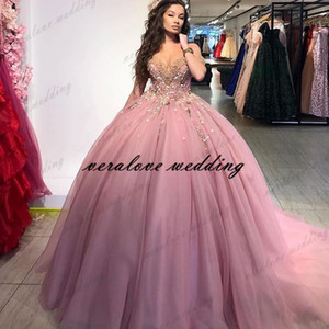 Pink Formal Vestidos De 15 Años Off the Shoulder Lace Appliques Quinceanera Dresses Sweet 16 Dress Mexican Prom Gowns 2021