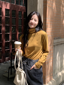 Blusa de base de tortuga de cuello alto versátil de color sólido para mujeres con corpiño moteado apilado de manga larga de manga larga top 3265