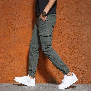 Bosibio Mens Slim Fit Multi Poche Pantalon de cargaison Mâle Solide Nouveau Joggers Haute Qualité Pantalons longue de haute qualité LJ201104