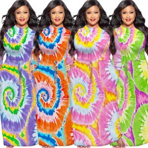 Плюс Размер Женская платья Мода Галстук окрашенная с длинным рукавом O Шея Длинные платья лето женские Дизайнер одежды 2020