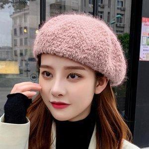 Sparsil femmes d'hiver Beret Cap Solide Couleur Femme Chapeaux Tricotés