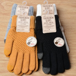explosion models Winter non-slip warm touch screen gloves Women Men Warm artificial wool Stretch Knit Mittens 2pcs a pair
