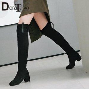 Ботинки доратасия плюс размер 33-48 дамы на шнуровке бедра высокие козкие густые каблуки над колено женщин круглые туфли носят женщина