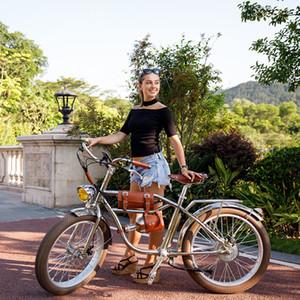 전기 뚱뚱한 자전거 500W 크루저 빈티지 비치 레트로 자전거 올드 스쿨 Ebike 전기 오토바이