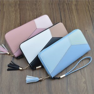 Geometric Women Long Wallets with Zipper Pink Phone Pocket Purse Card Holder Patchwork Lady Tassel Purse Party Favor