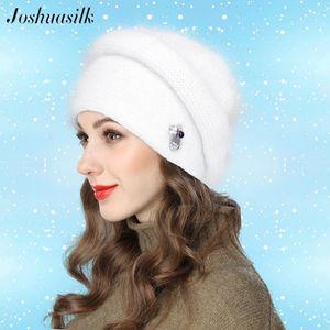 Joshuasilk Angora hiver de femme Hat Double chaud à rayures en trois dimensions Décoration Bulky Chapeau