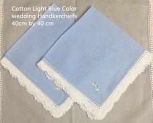 Mariage Beautiful 12 40 * 40 mouchoirs à mouchoir pour mouchoir léger coton vintage 100% cm1 tissu / blanc jaune bleu dentelle bleu / ensemble de crochet étouffé