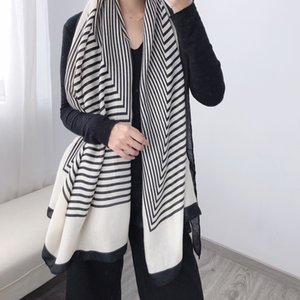 2020 Fashion Stripe Winter Scarf Women Cotton Warm Foulard Lady Scarves Thick Soft Bufanda Shawls Wraps