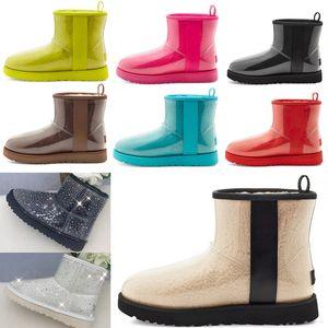 2021 Designer women australia australian boots women winter snow fur furry satin boot ankle booties fur leather outdoors shoes #1010