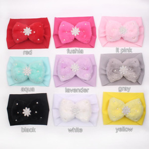 2020 New Autumn Winter Fur Pearl Big Bow Headband Imitation Rabbit Fur Plush Girls Head band Children Hair Accessories