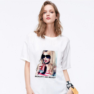 summer 2021 New T shirt Women Fashion Sunglasses girl Print Harajuku Tshirt O neck Short Sleeve T shirt White Tops femme