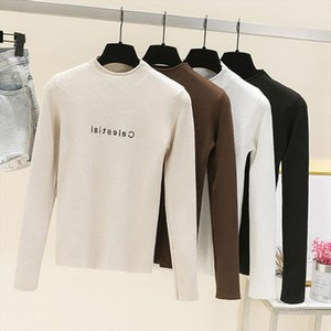 High Elasticity Embroidery Letter Half Turtleneck New Women Sweater Knitted Slime Clothes Long Sleeve 2020 Spring Pull Femme
